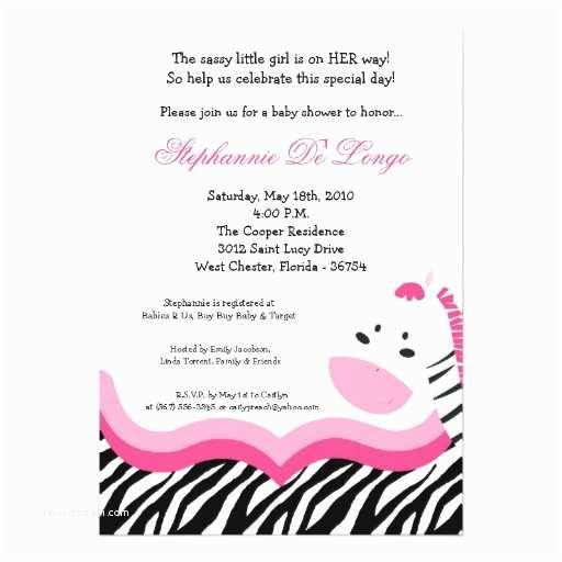 Pink Safari Baby Shower S 5x7 Sassy Pink Jungle Zebra Baby Shower