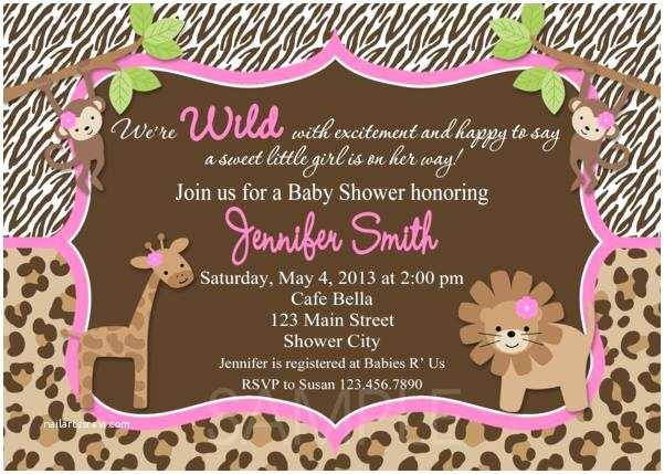 Pink Safari Baby Shower Invitations Baby Shower Cakes Girl Safari Baby Shower Decoration