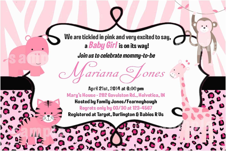 Pink Safari Baby Shower Invitations Chandeliers & Pendant
