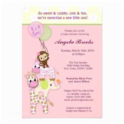 Pink Safari Baby Shower Invitations Girl Jungle Safari Animal Baby