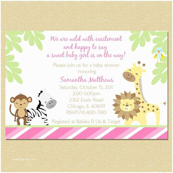 Pink Safari Baby Shower Invitations Pink Jungle Baby Shower Invitation Girl by