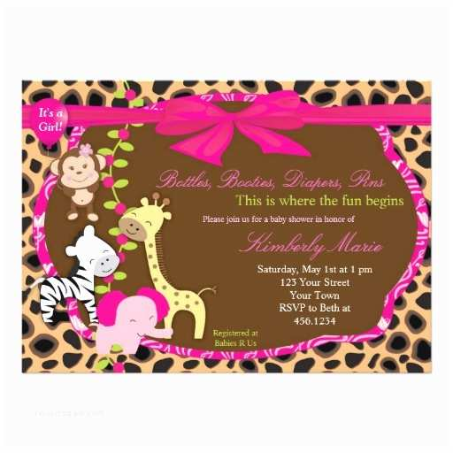 Pink Safari Baby Shower Invitations Pink Jungle Baby Shower Invitation