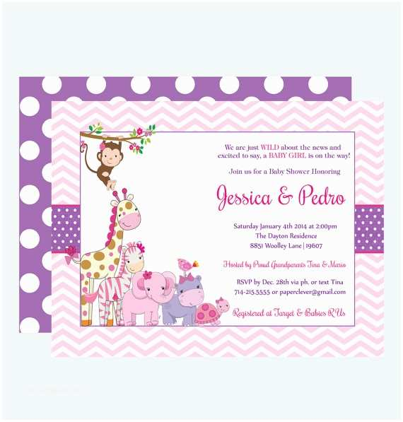 Pink Safari Baby Shower Invitations Pink Jungle Baby Shower Invitations Girls By