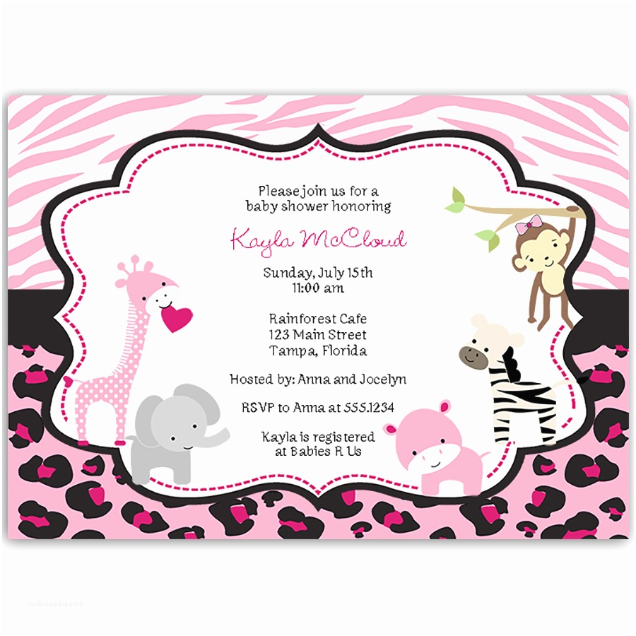 Pink Safari Baby Shower Invitations Pink Safari Baby Shower Invitation Invitations And