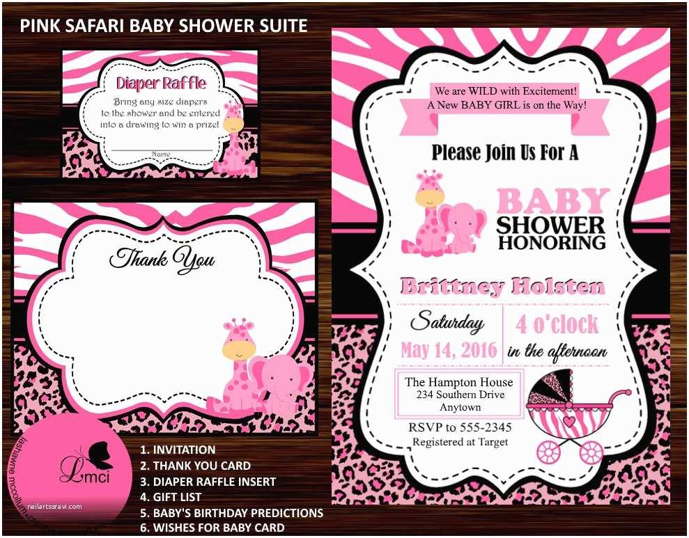 Pink Safari Baby Shower Invitations Pink Safari Baby Shower Invitation Thank You Card