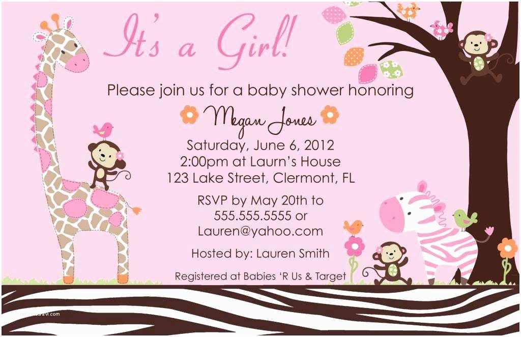 Pink Safari Baby Shower Invitations Pink Safari Baby Shower Invitations