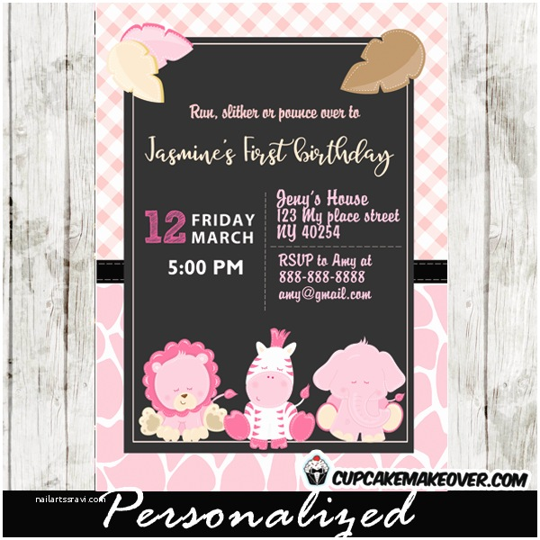 Pink Safari Baby Shower Invitations Pink Safari First Birthday Invitations