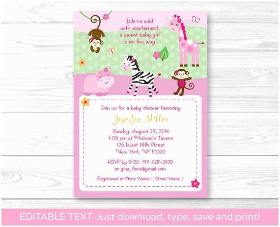 Pink Safari Baby  Invitations Pink Safari Jungle Animals Printable Baby