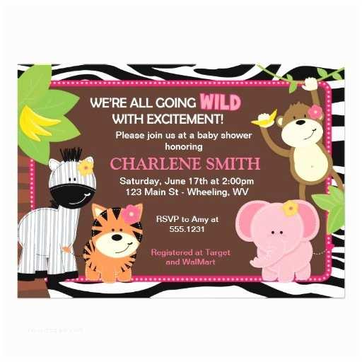 Pink Safari Baby Shower Invitations Pink Zebra Print Jungle Baby Shower Invitation