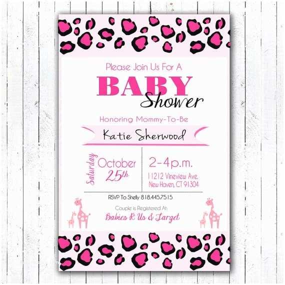 Pink Safari Baby Shower Invitations Printable Pink Safari Baby Shower Invitation 4 X