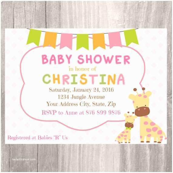 safari baby shower invitation giraffe baby