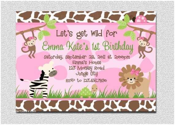 Pink Safari Baby Shower Invitations Safari Birthday Invitation Pink Safari Birthday Party
