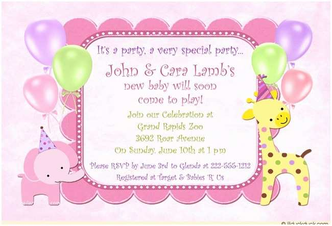 Pink Safari Baby Shower Invitations Sweet Safari Baby Shower Invitation Cute Girl Pink Animal