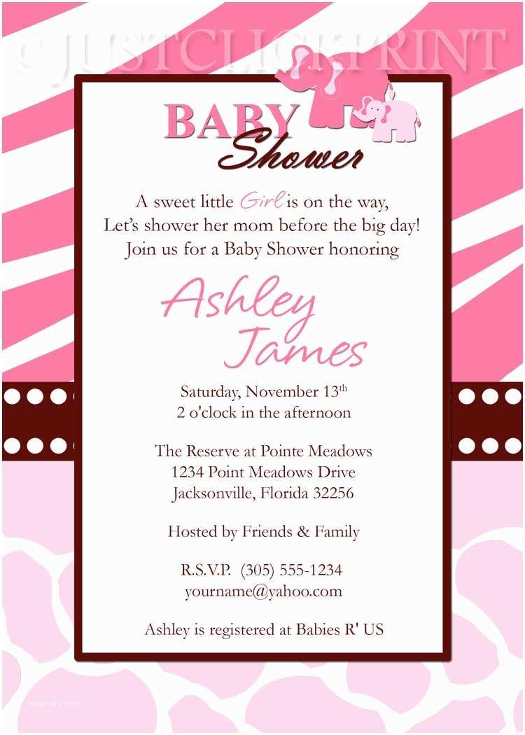 Pink Safari Baby Shower Invitations Wild Safari Pink Baby Shower Invitation Printable · Just