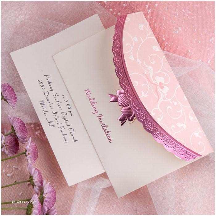 beautiful art deco embossed tri fold bud white and pink wedding invitation sets ewri014