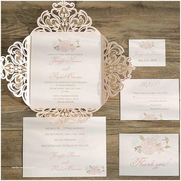 Pink Wedding Invitations Blush Pink Flower Laser Cut Spring Wedding Invitation