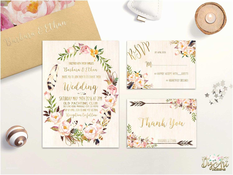 Pink Wedding Invitations Floral Wedding Invitation Printable Bohemian Wedding