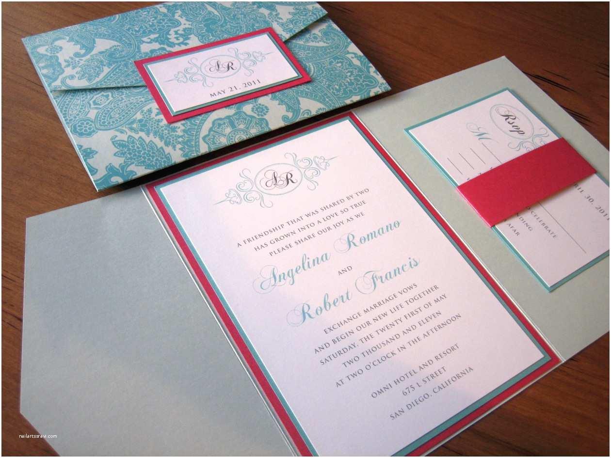 Pink Wedding Invitations Tiffany Blue and Pink Wedding