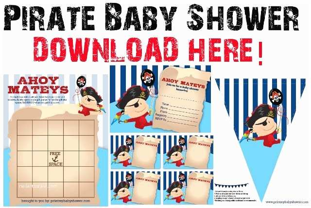 Pirate Baby Shower Invitations Pirate Baby Shower Printable Invitations and Decorations