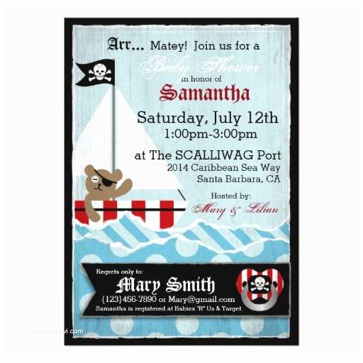 "Pirate Baby Shower Invitations Pirate Teddy Bear Baby Shower 5"" X 7"" Invitation Card"