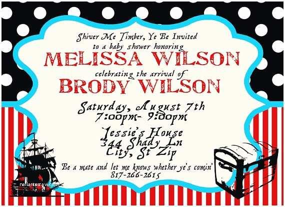 Pirate Baby Shower Invitations Pirate theme Baby Shower Invitation Custom by Melissawilson34