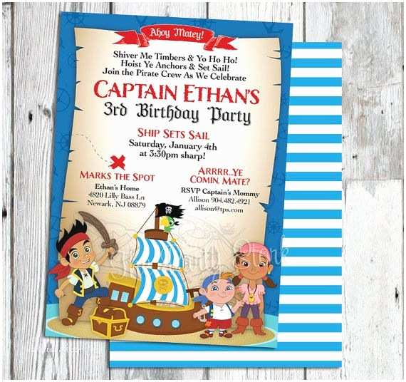 Pirate Birthday Invitations Jake and the Neverland Pirates Invitations Printable Boys