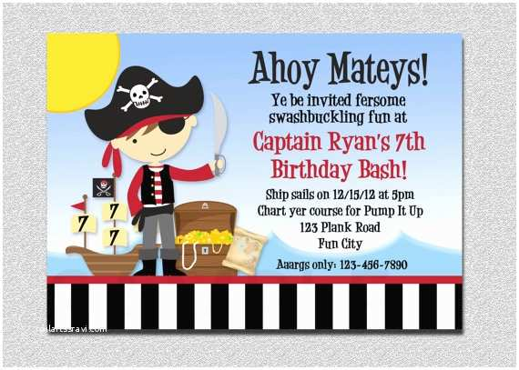 Pirate Birthday Invitations Pirate Birthday Invitation Pirate Party Birthday Invitation
