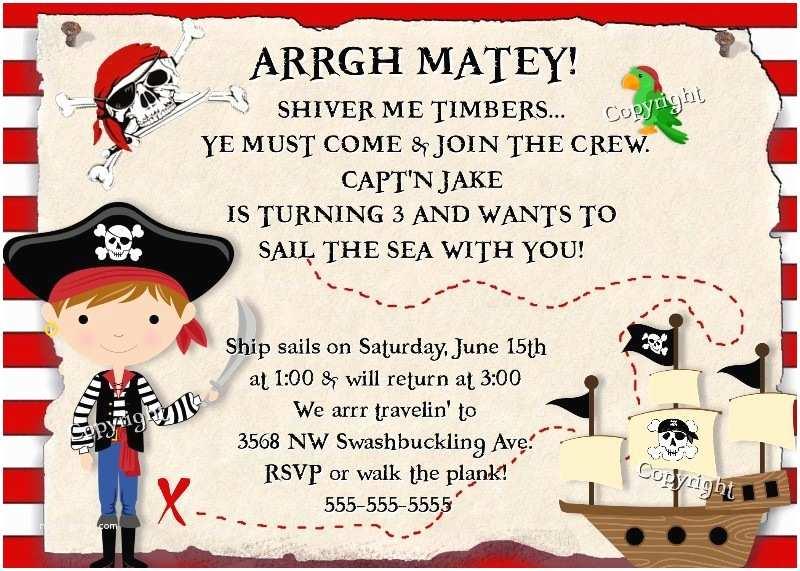 Pirate Birthday Invitations Pirate Birthday Invitation Pirates Treasure Party Boy Girl