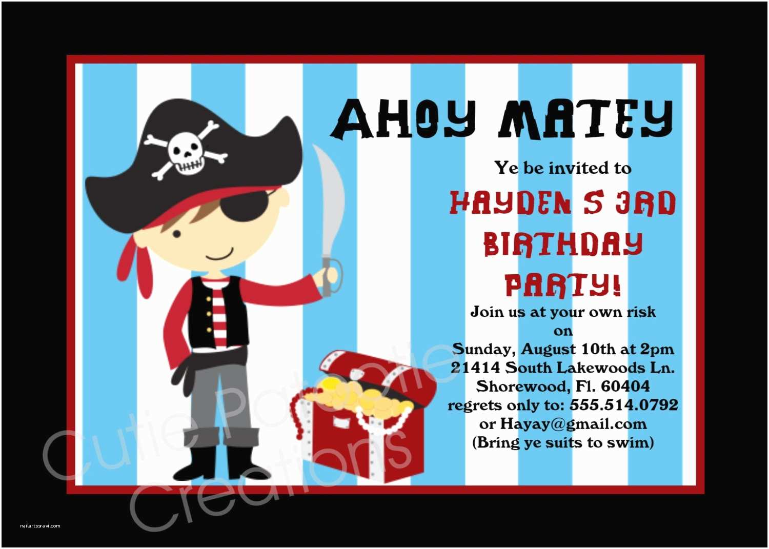 Pirate Birthday Invitations Pirate Birthday Invitation Printable Party by Ewhimsychick