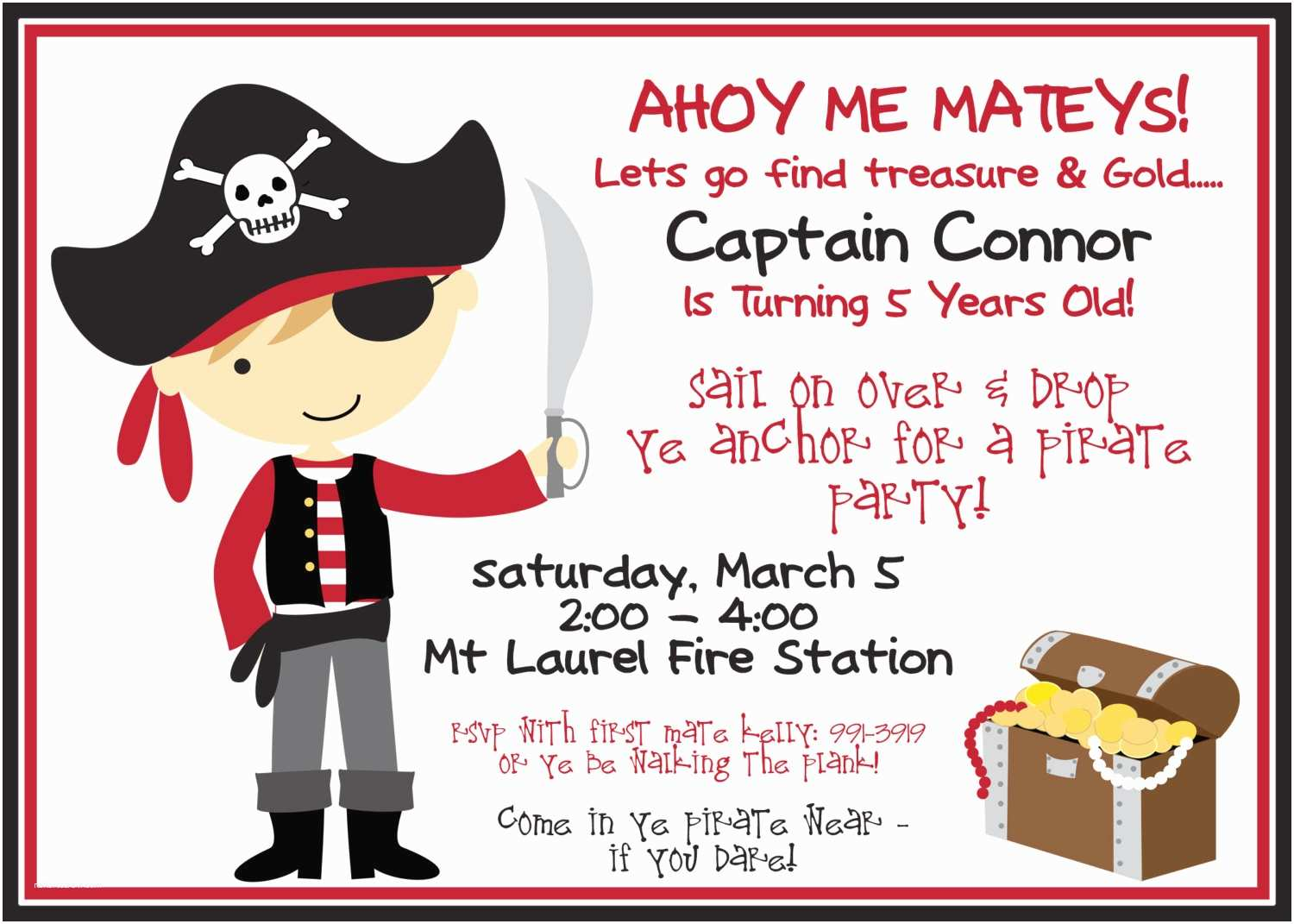 Pirate Birthday Invitations Pirate Party Invitation and Black with Boy by