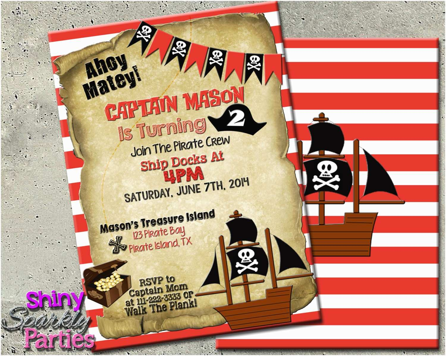 Pirate Birthday Invitations Pirate Party Invitation Pirate Birthday Invitation Pirate