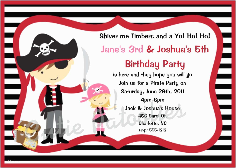 Pirate Birthday Invitations Pirate Party Invitation Wording Template