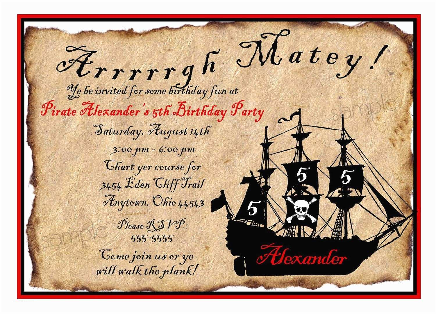 Pirate Party Invitations Free Printable Pirate Party Invitations