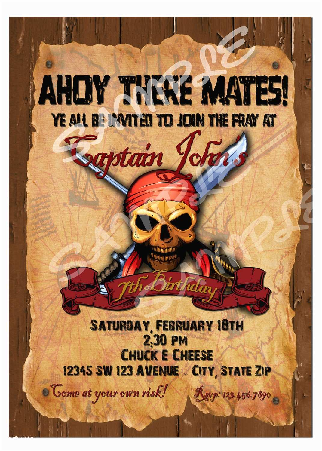 Pirate Party Invitations Pirate Birthday Party Invitations Wording