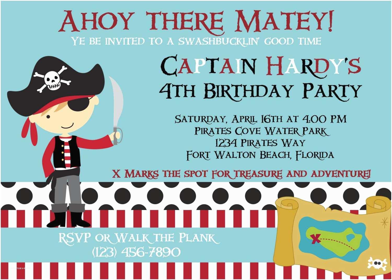 Pirate Party Invitations Pirate Invitation 5x7 Birthday Party Boy Printable