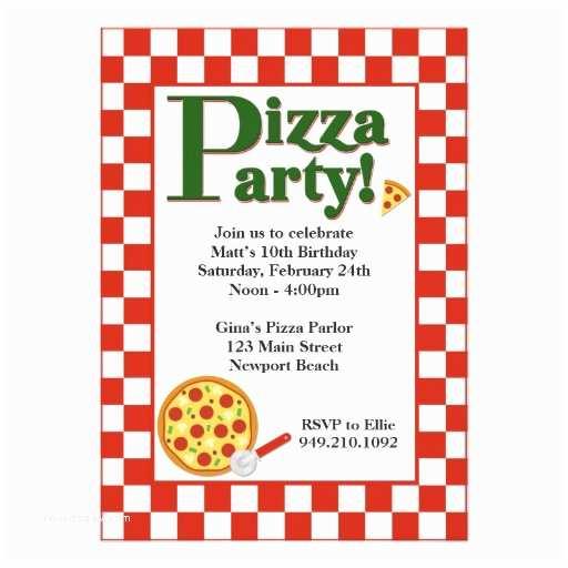 "Pizza Party Invitations Pizza Party Birthday Invitation 5"" X 7"" Invitation Card"