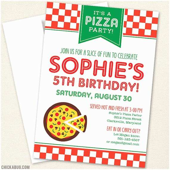Pizza Party Invitations Pizza Party Invitations Professionally Printed or by Chickabug