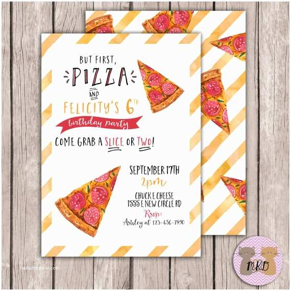 Pizza Party Invitations Printable Pizza Birthday Invite Watercolor Pizza Invite