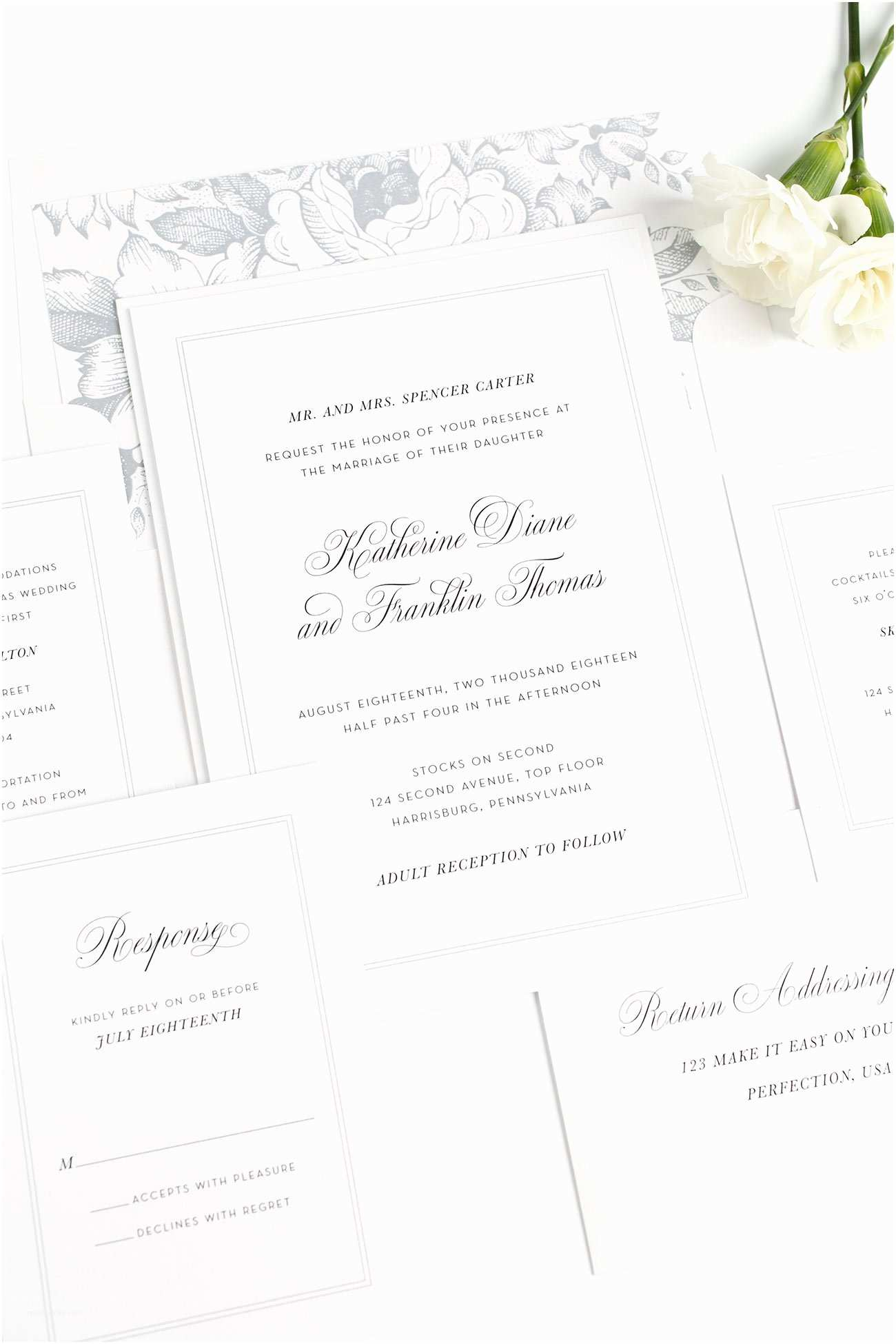 Plain Wedding Invitations Classic Bordered Wedding Invitations with Platinum Silk