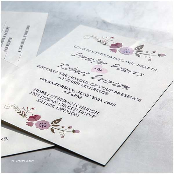Plain Wedding Invitations Simple Rustic Floral Uv Printing Wedding Invitations