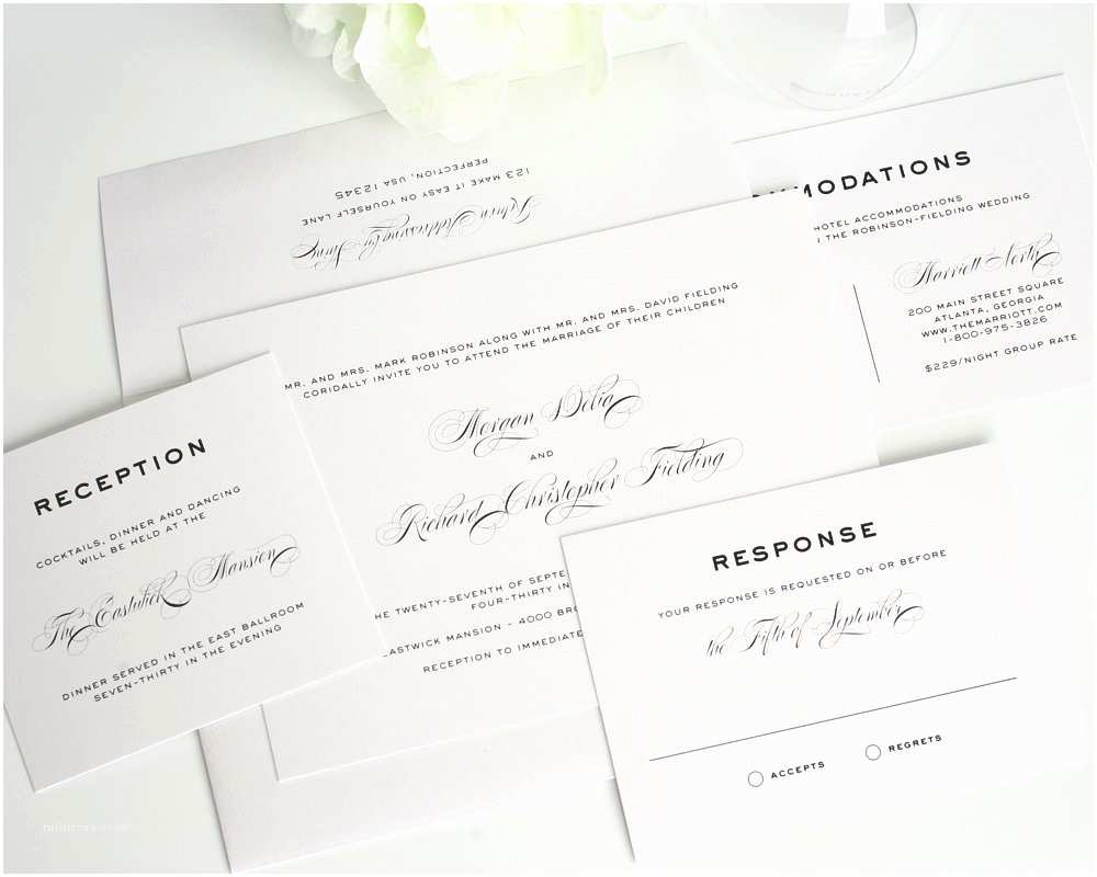 Plain White Wedding Invitations Simple Traditional Classic Wedding Invitations In Gray