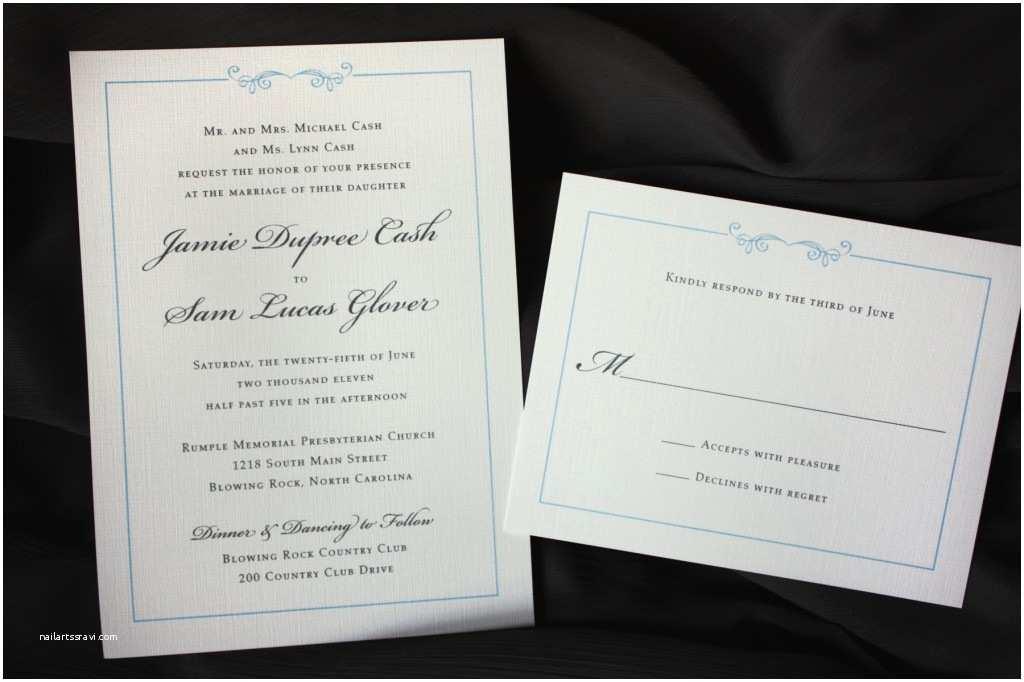 Plain White Wedding Invitations Simply Elegant Light Blue and Gray Scroll Border Wedding
