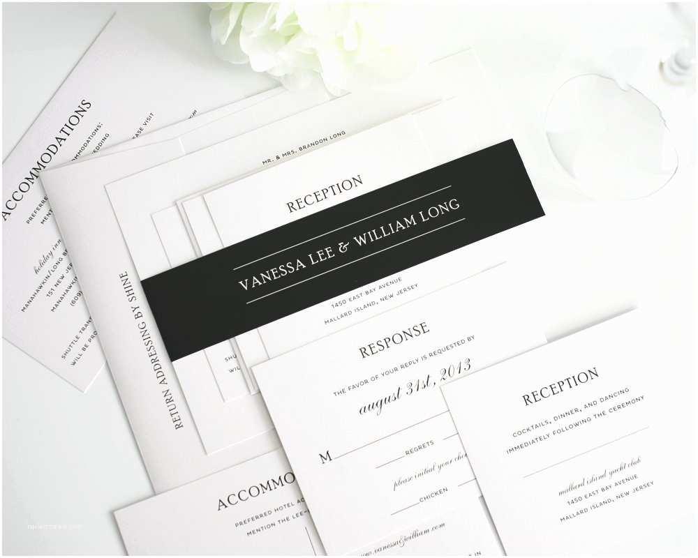 Plain White Wedding Invitations Traditional Wedding Invitations In Black and White