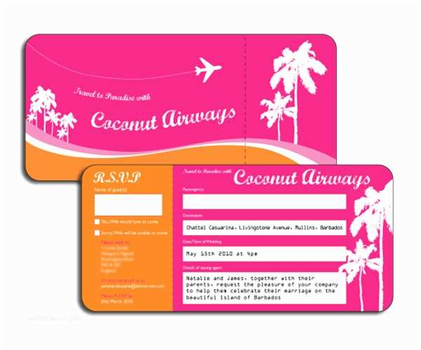 Plane Ticket Wedding Invitation Template Free 22 Wedding Invitations