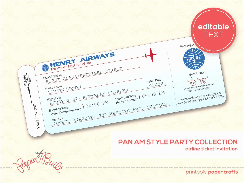 Plane Ticket Wedding Invitation Template Free Airline Ticket Invitation Templates Cloudinvitation