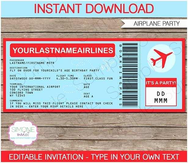 Plane Ticket Wedding Invitation Template Free Airplane Ticket Invitations Template