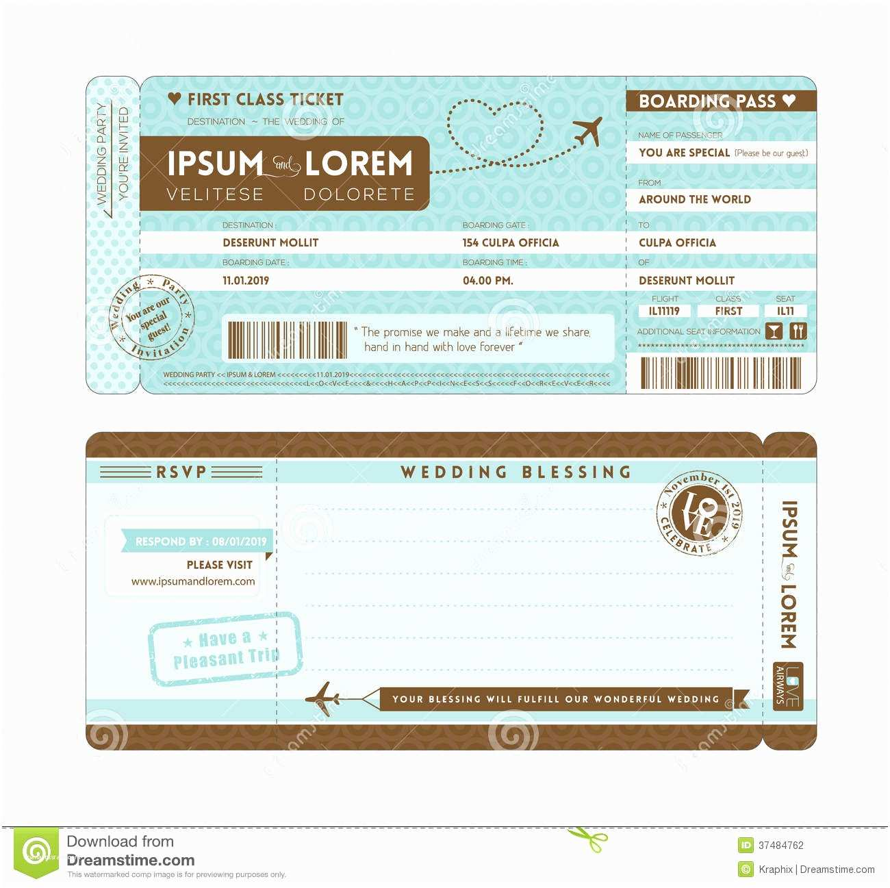 Plane Ticket Wedding Invitation Template Free Boarding Pass Cartoon Vector
