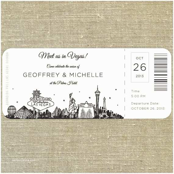 Plane Ticket Wedding Invitation Template Free Las Vegas Skyline Plane Ticket Wedding Invitation