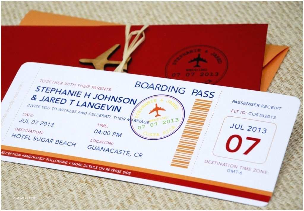 Plane Ticket Wedding Invitation Template Free New Wedding Invitation Airline Ticket Template