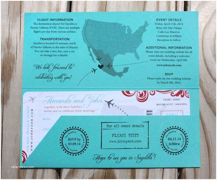 Plane Ticket Wedding Invitation Template Free Turquoise Red & Gray Swirls Airplanes & Map Airline
